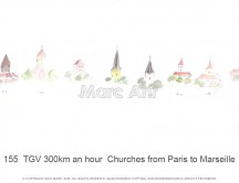 C images panoramas - 155  TGV 300km an hour  Churches from Paris to Marseille