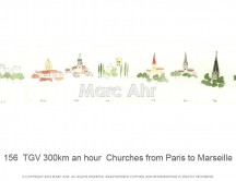 C images panoramas - 156  TGV 300km an hour  Churches from Paris to Marseille