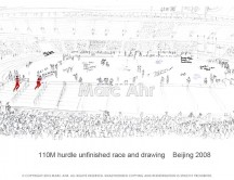 C images summer olympics_beijing - 110M hurdle unfinished race and drawing with sign